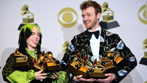 US singer-songwriter Billie Eilish (L) and Finneas O